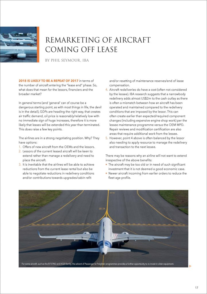 Remarketing of aircraft coming off lease