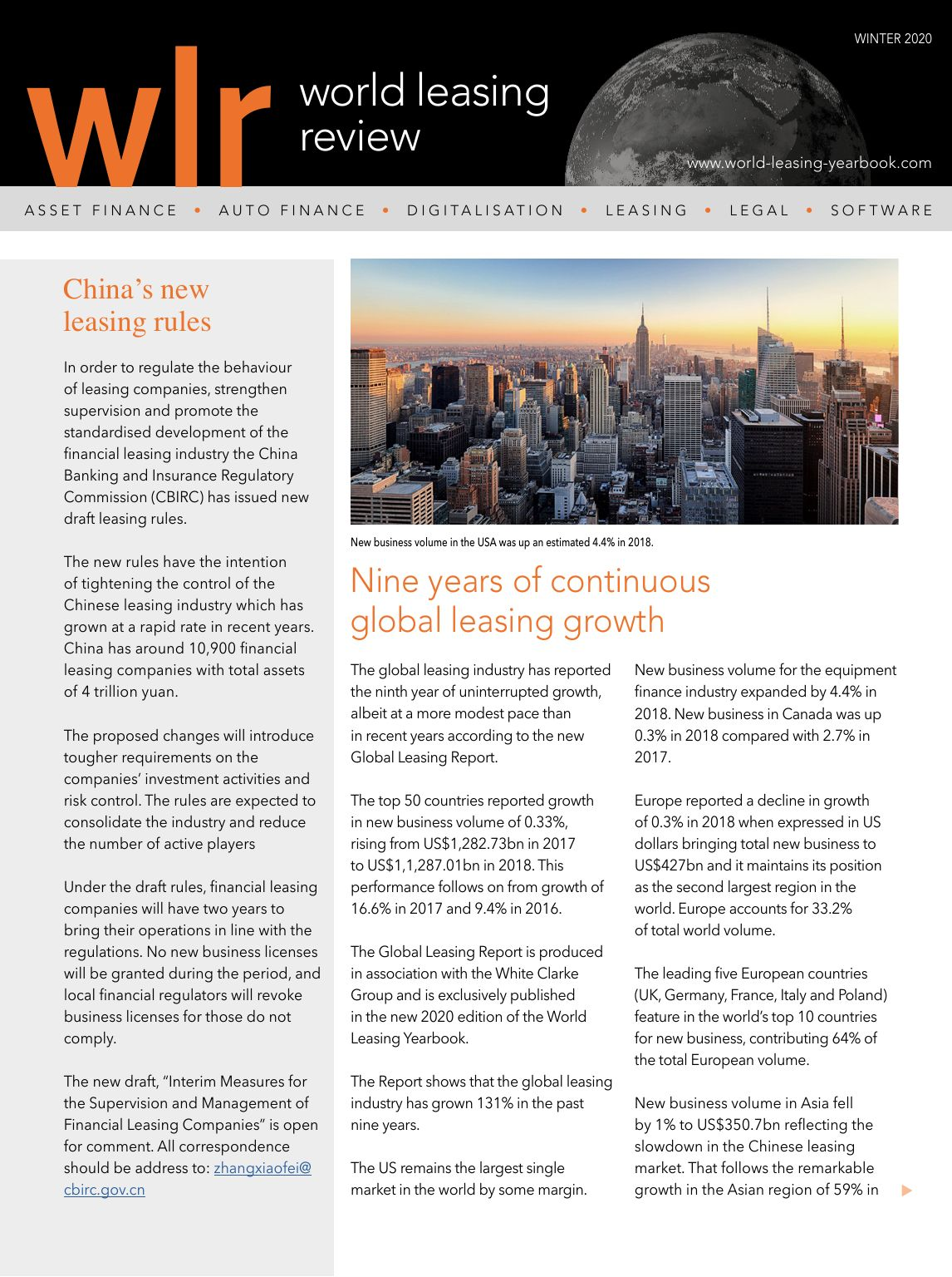 World Leasing Review Winter 2020 Edition